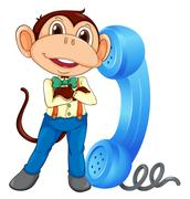 a monkey with receiver - stock illustration