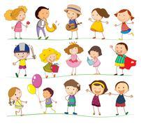 Mixed kids - stock illustration