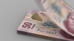 Counting Mexican Pesos Stock Footage