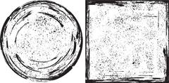 grunge round and square frames texture. vector - stock illustration