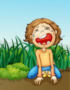 Boy crying alone Piirros