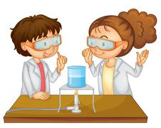 Boy and girl science class experiment Stock Illustration