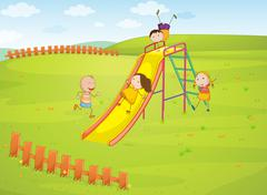 Kids in the park - stock illustration