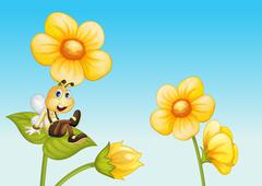 Bee on a flower - stock illustration