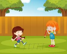 Playing in the backyard - stock illustration
