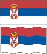 Stock Illustration of flat and waving serbian flag. vector