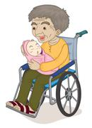 old and young - stock illustration