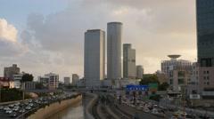 Tel Aviv - Israel - Metropolitan - Skyline / Highway - 30P - UHD 4K - Time Lapse Stock Footage