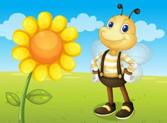 bee and flower - stock illustration