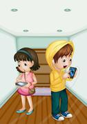 Kids with tablets and phone - stock illustration