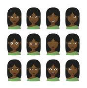 female cartoon avatar expression set - stock illustration