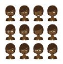 Stock Illustration of female cartoon avatar expression set