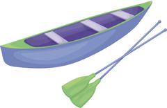 Blue and green canoe - stock illustration
