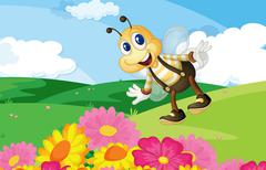 Bee in the field - stock illustration