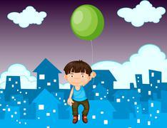Floating away - stock illustration