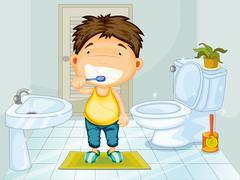 Boy brushing his teeth Stock Illustration