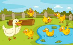 Ducks at the pond - stock illustration
