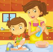 Stock Illustration of Helping at home