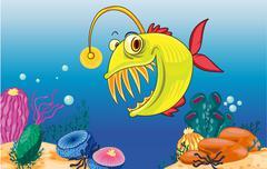 Angler fish - stock illustration
