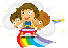 Stock Illustration of Kids driving
