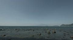 Numazu sea wide angle, non color graded 4k (3840x2160) Stock Footage