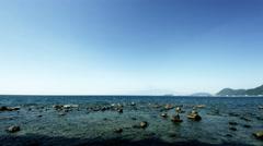 Numazu sea wide angle, color graded 4k (3840x2160) Stock Footage