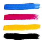cmyk colors vector acrylic stains - stock illustration