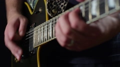 Playing electric guitar - close up of frets 2 4K Stock Footage