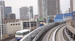 View of Tokyo from Yurikamome automated train, Tokyo, Japan Stock Footage