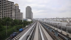 Stock Video Footage of View of Tokyo from Yurikamome automated train, Tokyo, Japan