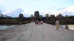 Tourists Walking at the Main Temple - Angkor Wat Stock Footage