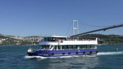 Time lapse of small boats and ships are navigating on Bosphorus Bridge Istanbul  Stock Footage
