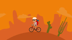 Man Riding Bicycle In Desert And Forest - stock footage