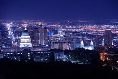 salt lake city at night panorama with capitol building. - stock photo
