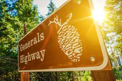Generals highway sign in sequoia national park Stock Photos