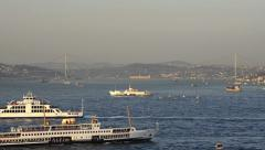 Time lapse of marine traffic between continents Asia and Europe, Istanbul Stock Footage