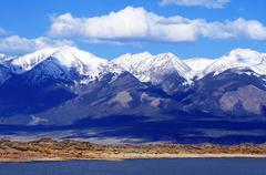 first mountain snow in colorado, united states. - stock photo