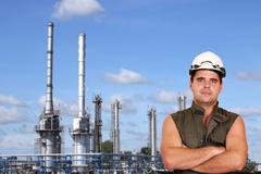 Worker and petrochemical plant oil industry Stock Photos