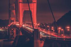 golden gate bridge at night. san francisco legendary  bridge - stock photo