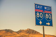 interstate i-80 nevada american highway sign. - stock photo
