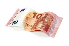 New ten euro bill isolated with clipping path - stock photo