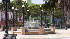 Puerto Rico - Old town plaza water fountain Stock Footage