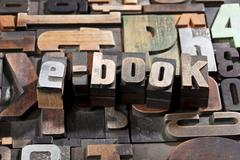e-book written with letterpress printing blocks - stock photo