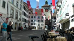 Europe Switzerland city of Solothurn 024 funny young guys in main street Stock Footage