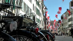 Europe Switzerland city of Solothurn 021 the main street during the autumn fair Stock Footage