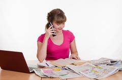 girl with a positive attitude to the employer calls - stock photo