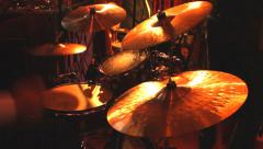 Rock band performing in a nightclub. drummer playing on drum set Stock Footage