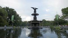 Bethesda Statue Central Park Angel Sculpture Wings Pond NYC 4K New York City Stock Footage