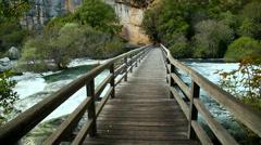 Boardwalk in the park - stock footage
