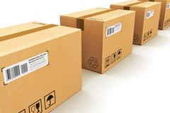 Row of cardboard boxes - stock illustration